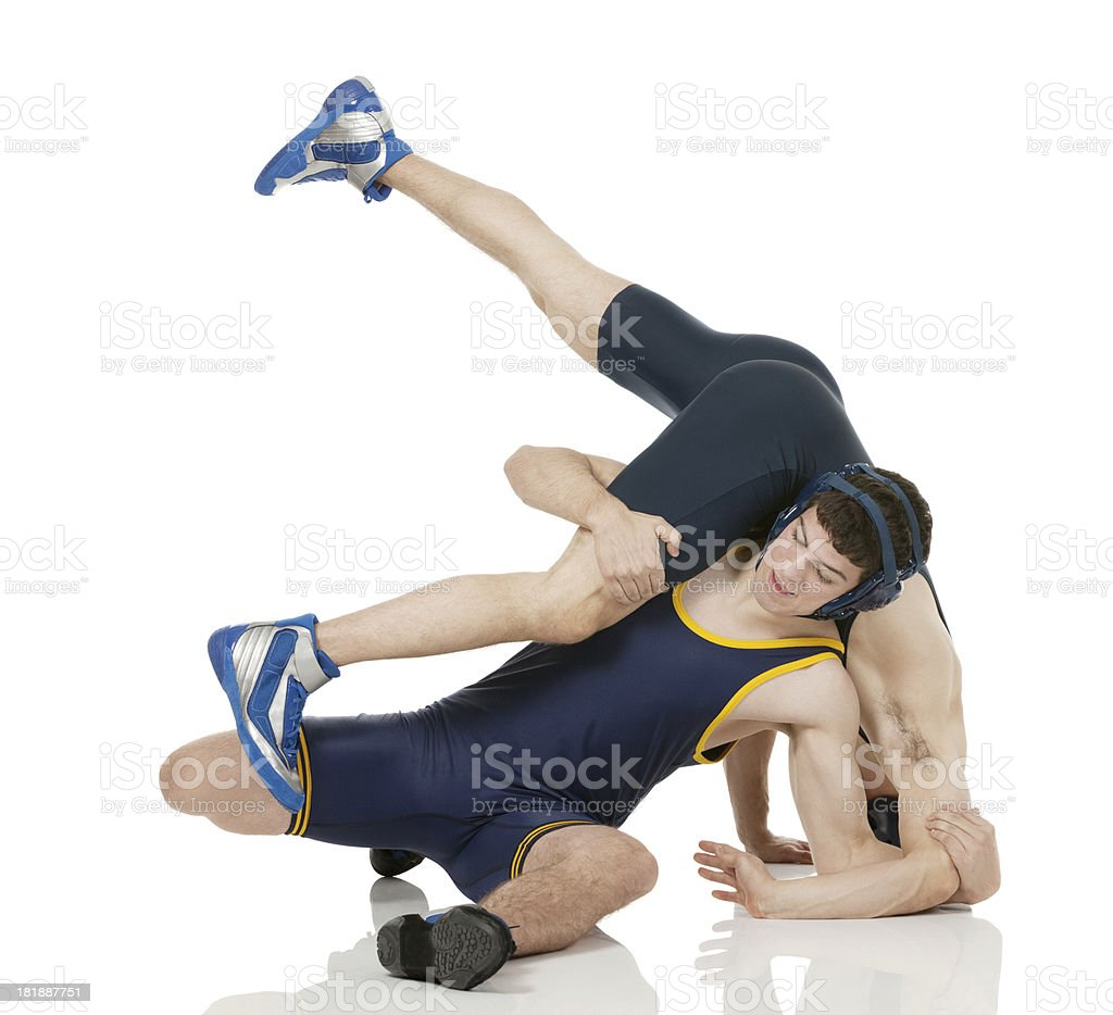 Wrestlers in action royalty-free stock photo