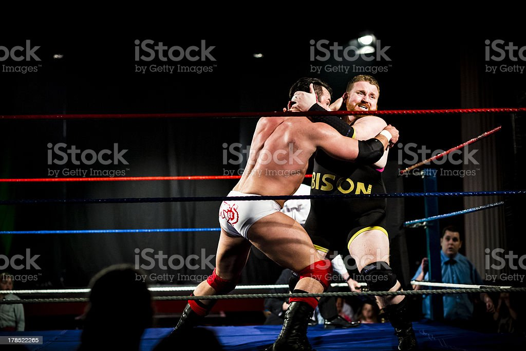 Wrestlers in combat stock photo