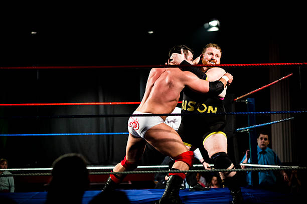 wrestlers in combat - wrestling stock photos and pictures