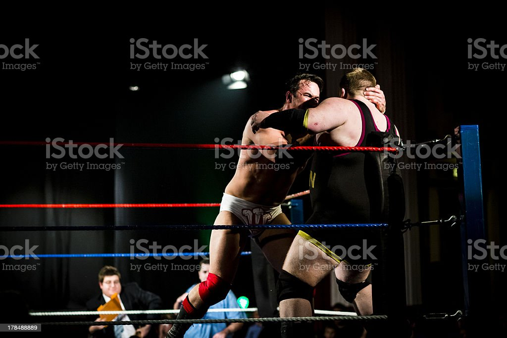 Wrestlers in corner stock photo