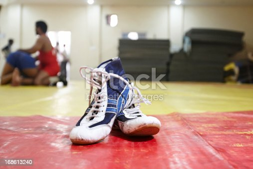 Wrestling boots at the gym