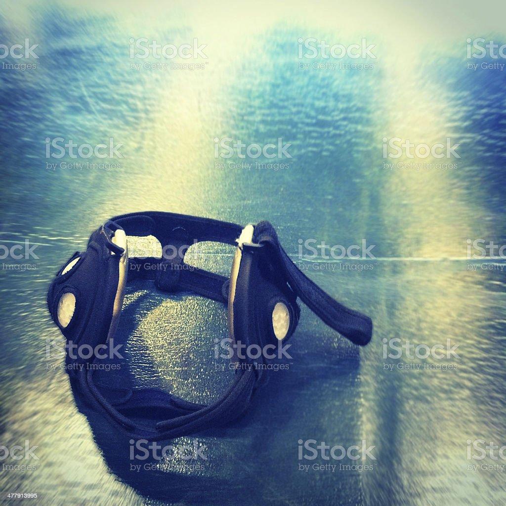 Wrestling Headgear on Mat Background stock photo
