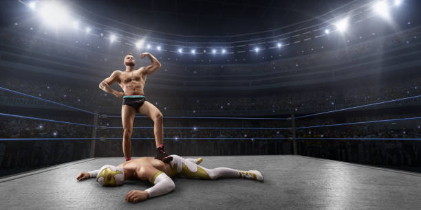 wrestling show. two wrestlers in a bright sport clothes and face mask fight in the ring - wrestling stock photos and pictures