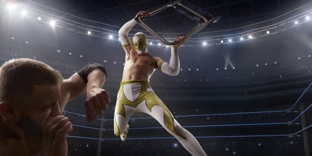 Wrestling-Show. Zwei Wrestler in einem hellen Sportkleidung und Gesichtsmaske im Ring kämpfen – Foto