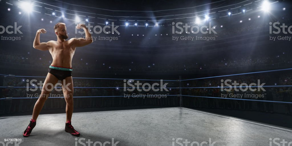 Wrestling show. Wrestler in a bright sport clothes and face mask in the ring stock photo
