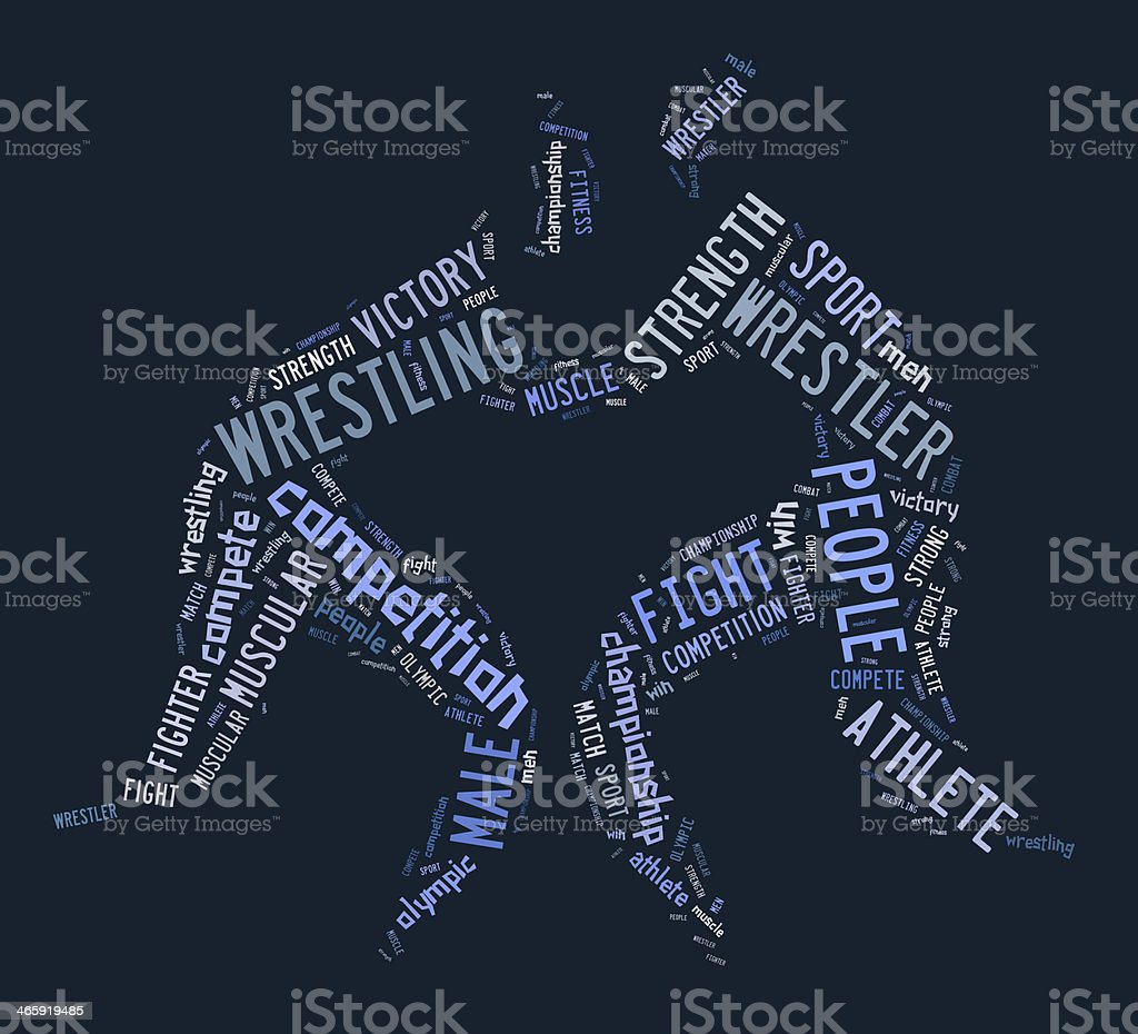 wrestling word cloud with blue wordings stock photo