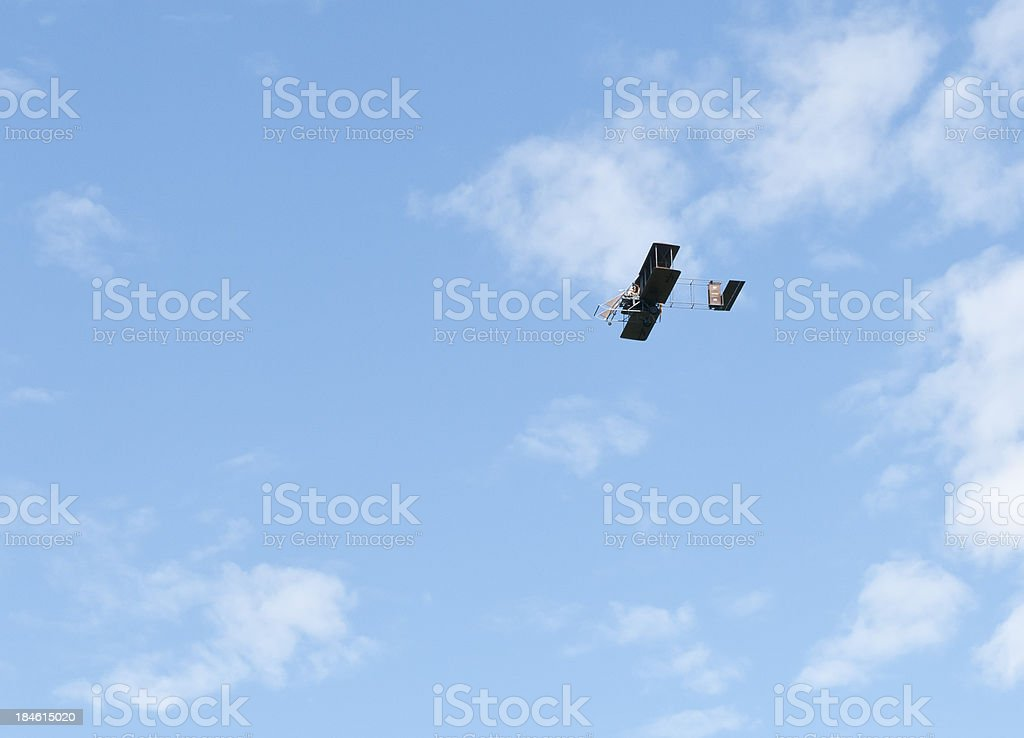 Wright Brothers Airplane on Blue Sky stock photo