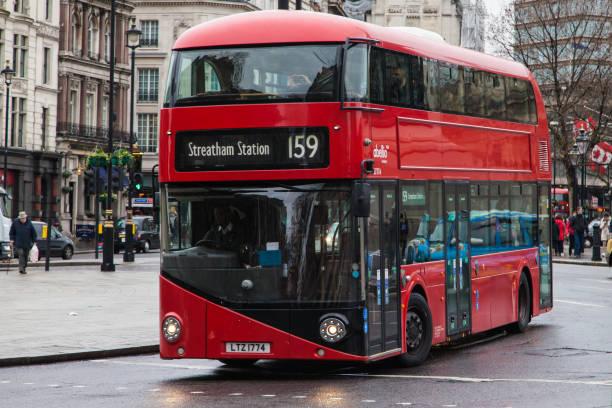Wrightbus New Routemaster at Trafalgar Square stock photo