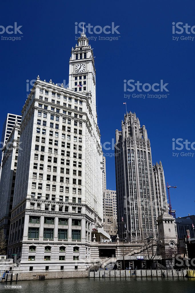 Wrigley and Tribune Buildings, Chicago royalty-free stock photo