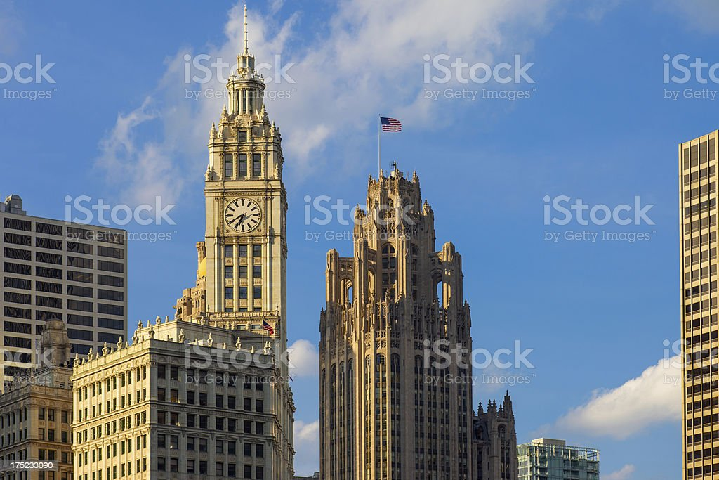 Wrigley Building and Tribune Tower in Chicago USA stock photo