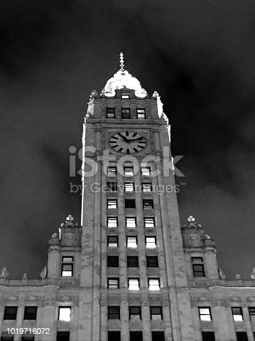 Wrigley Building, Chicago, IL, at night.