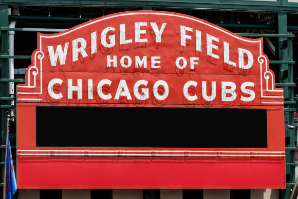Wrigley Field Home of Chicago Cubs with copy space I Chicago - Circa June 2019: Wrigley Field Home of Chicago Cubs with copy space I major league baseball stock pictures, royalty-free photos & images