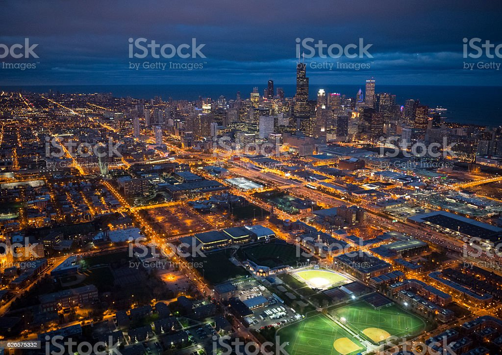 Wrigley field of Chicago seen from above stock photo