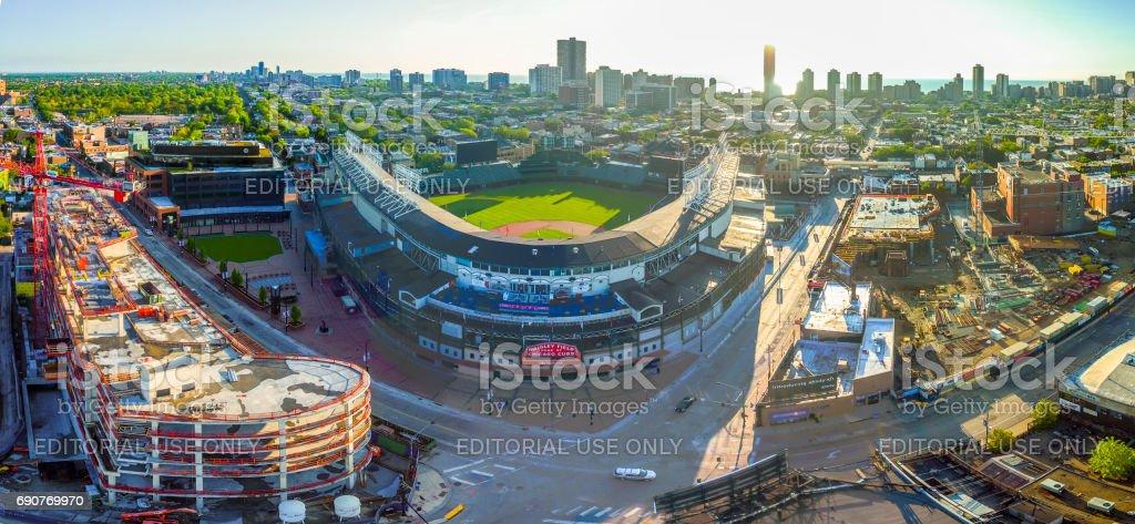 Wrigley Field panoramics stock photo