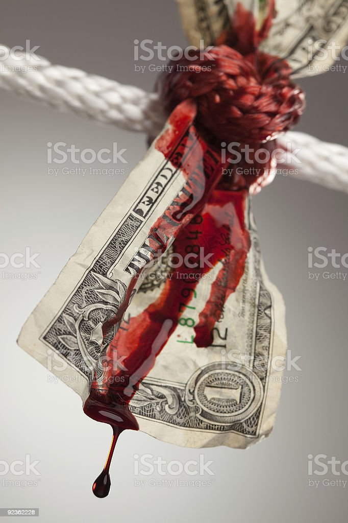 Wrinkled American Dollar Bleeding in Rope stock photo