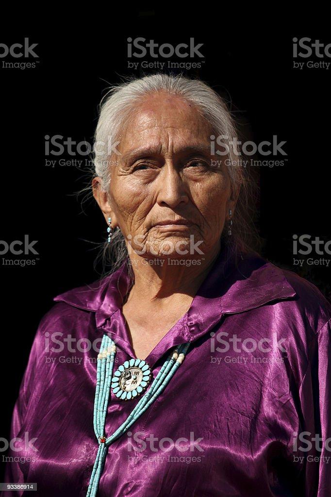 Wrinkled Beautiful Navajo Elder  stock photo