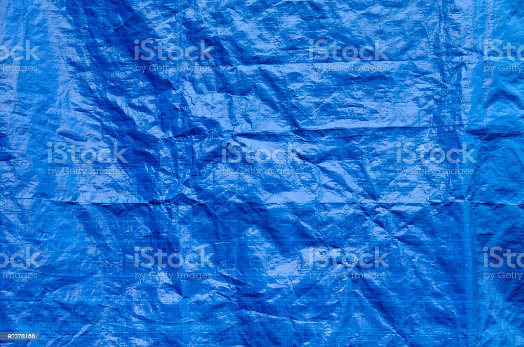 Wrinkled blue tarp texture full frame background stock photo