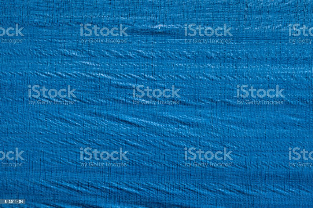 Wrinkled blue tarp texture stock photo