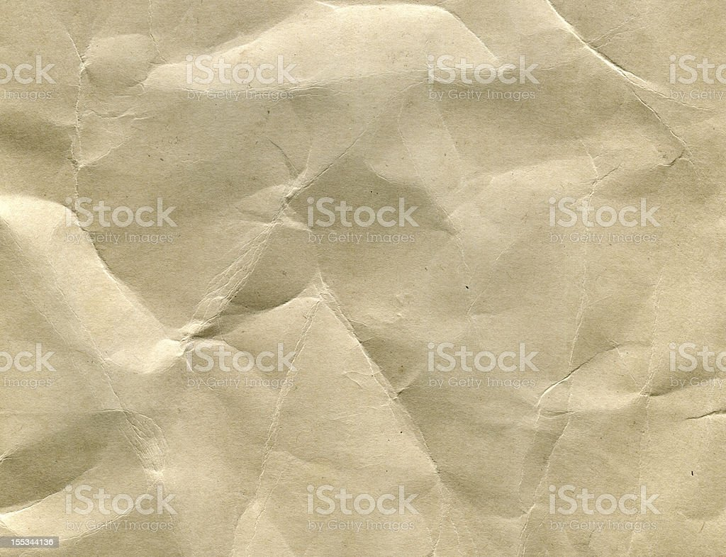 Wrinkled brown Paper (High resolution) (XXXL) royalty-free stock photo