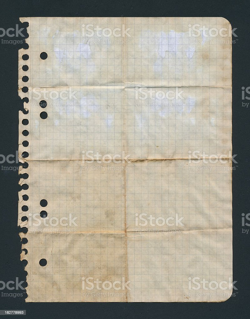 Wrinkled notebook paper royalty-free stock photo