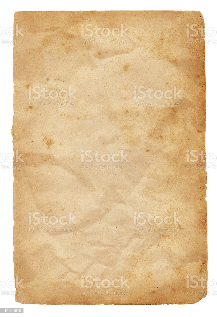 Wrinkled Paper; Isolated stock photo