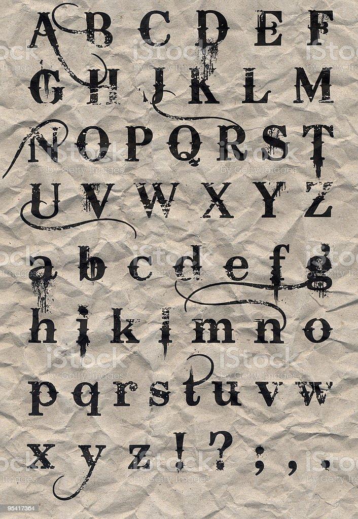 Runzlig recyceltem Papier Alphabet III Lizenzfreies stock-foto