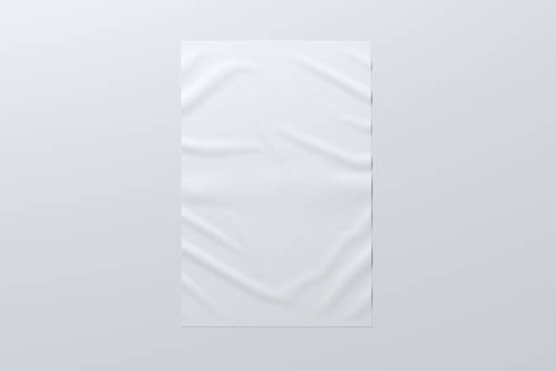 wrinkled street poster on the wall - poster stock pictures, royalty-free photos & images