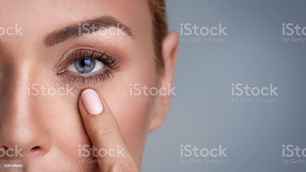 wrinkles around the eyes stock photo