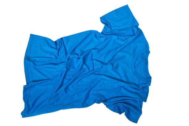Wrinkles on untidy blue shirt stock photo