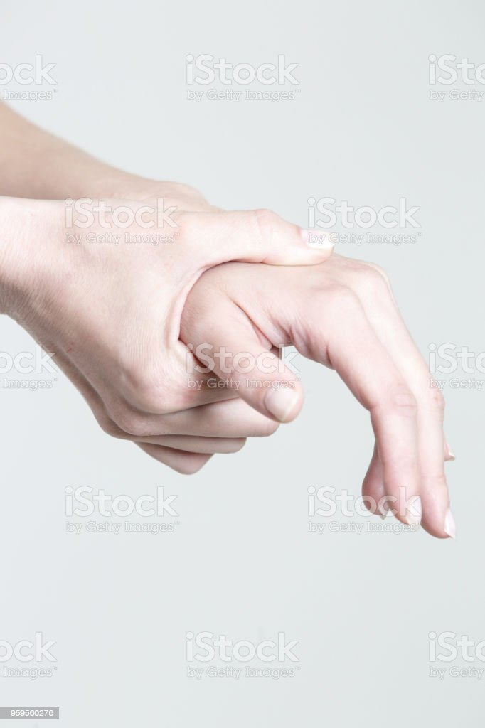 Wrist injury, woman with Carpal tunnel syndrome symptom stock photo