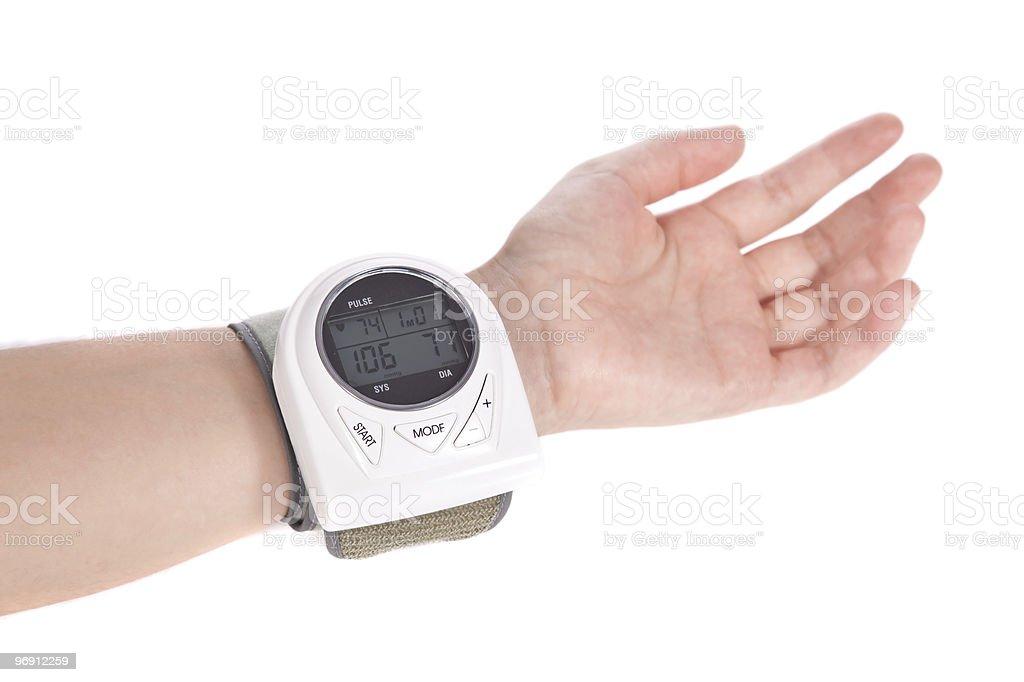 Wrist sphygmomanometer - blood pressure monitor royalty-free stock photo