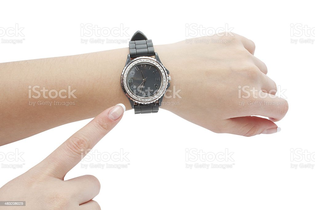 wrist watch and the hand as a pointer stock photo
