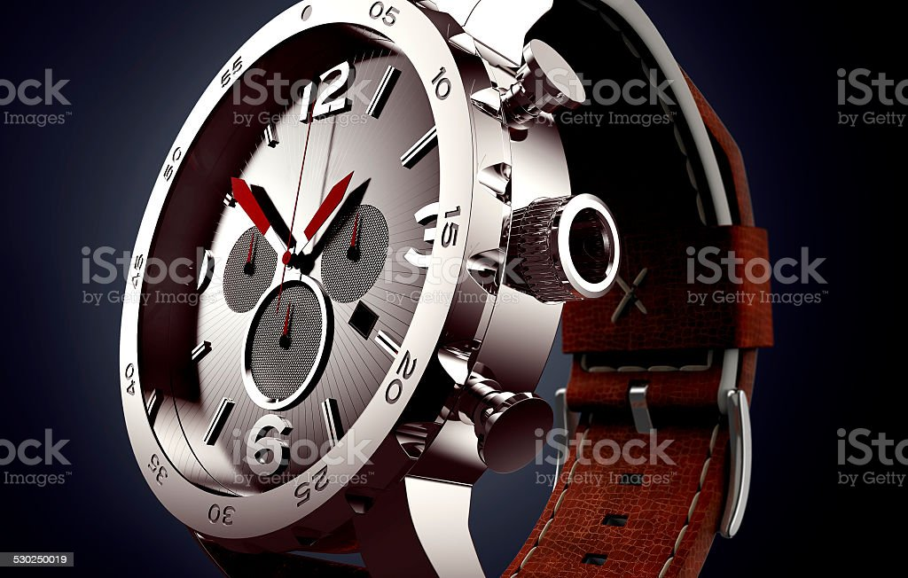 wrist watch on black background stock photo