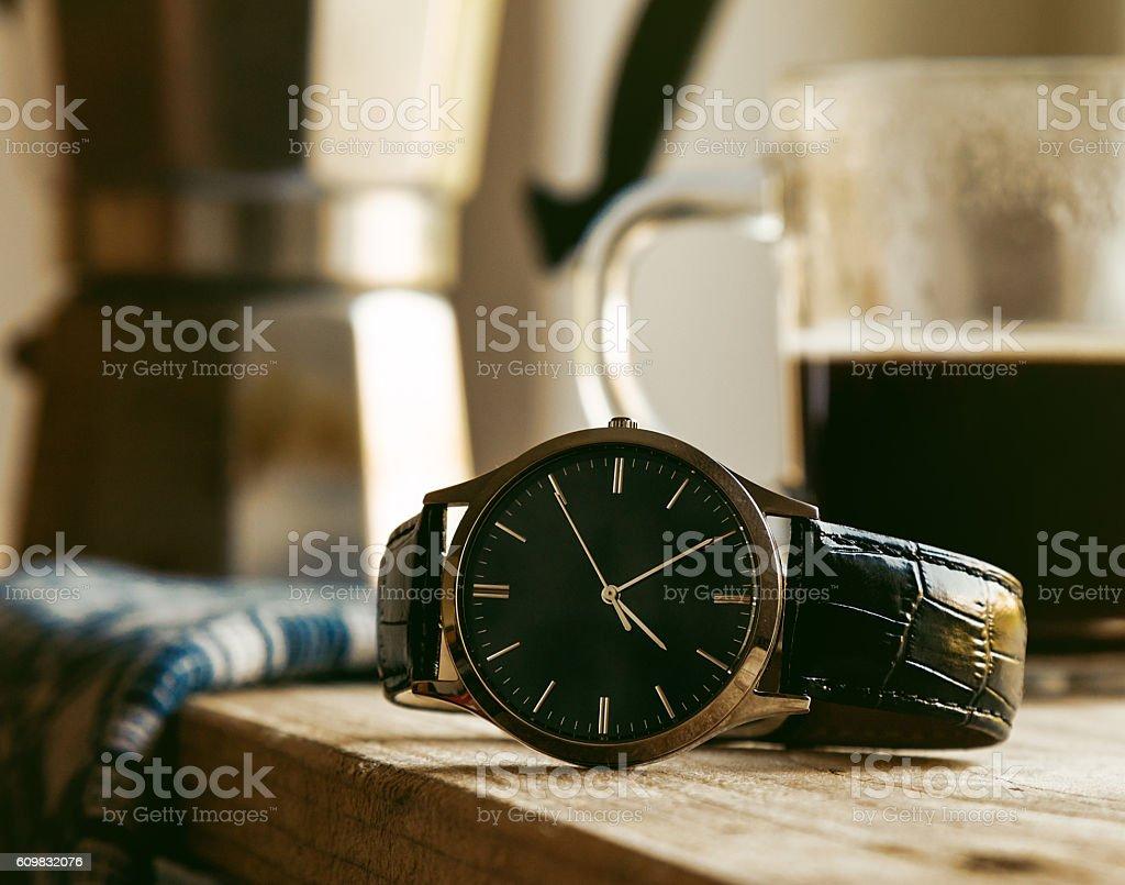 wrist watch on tabel stock photo