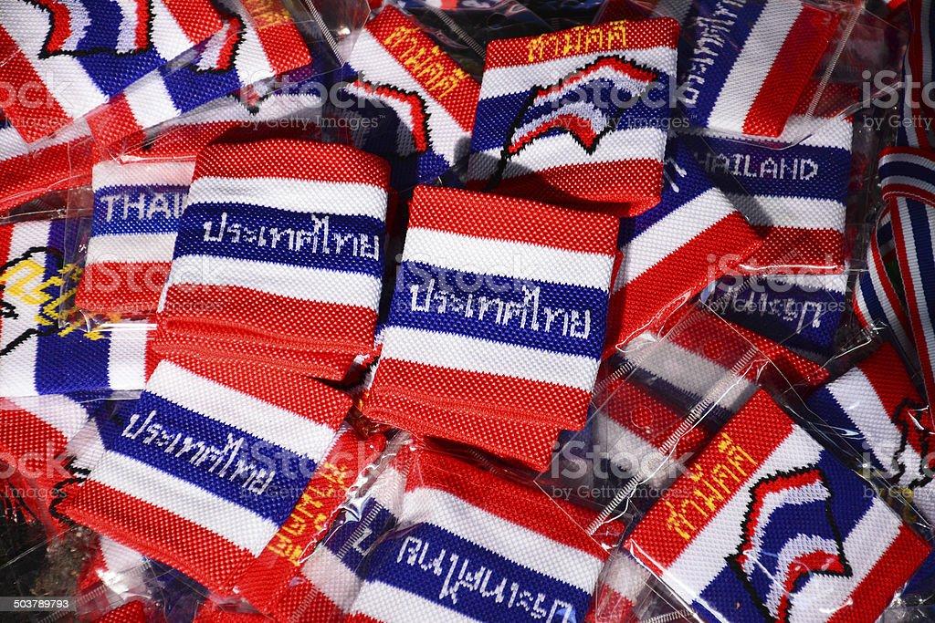 wristband in thai flag pattern stock photo