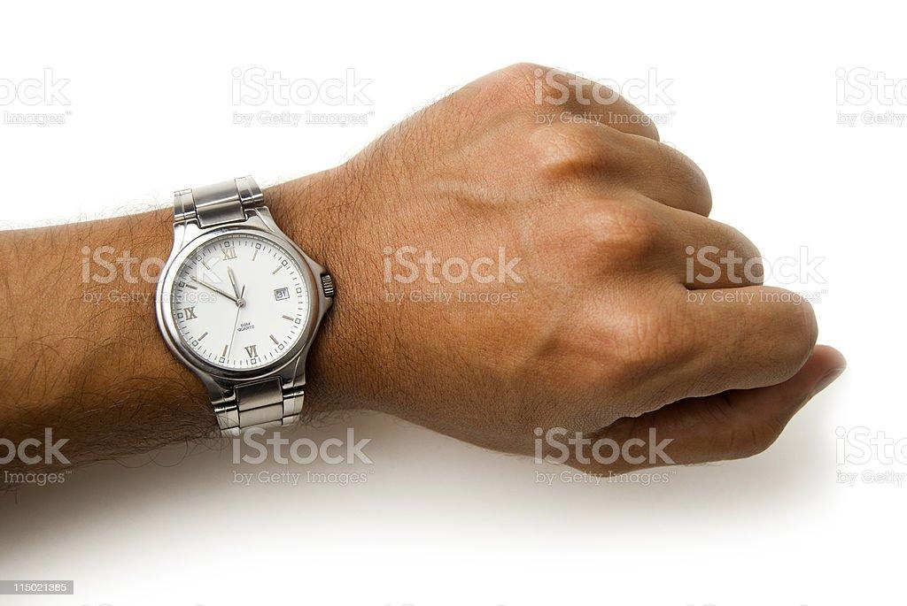 Wristwatch on a wrist - clipping path stock photo