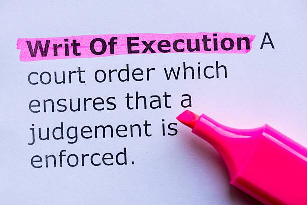 writ of execution stock photo
