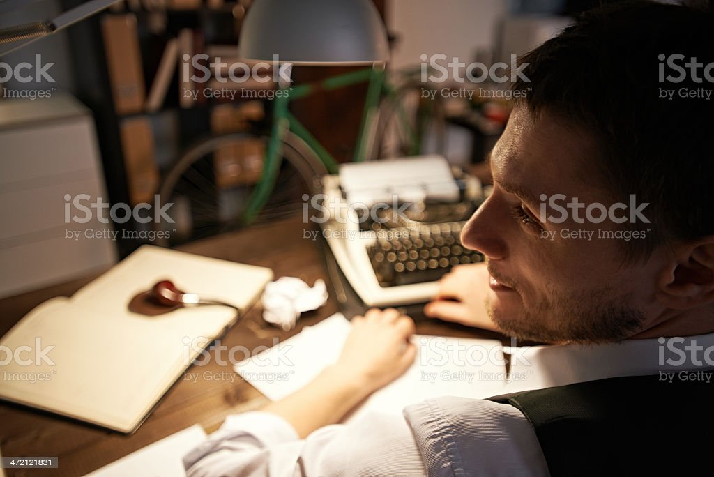 Writer at work stock photo