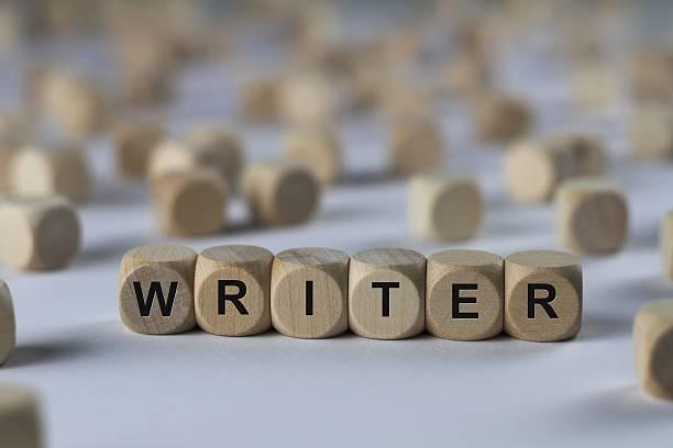 writer - cube with letters, sign with wooden cubes - drehbuchautor stock-fotos und bilder