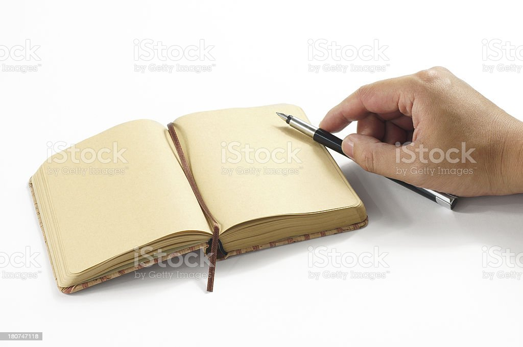 Writer with Pen and Notes royalty-free stock photo