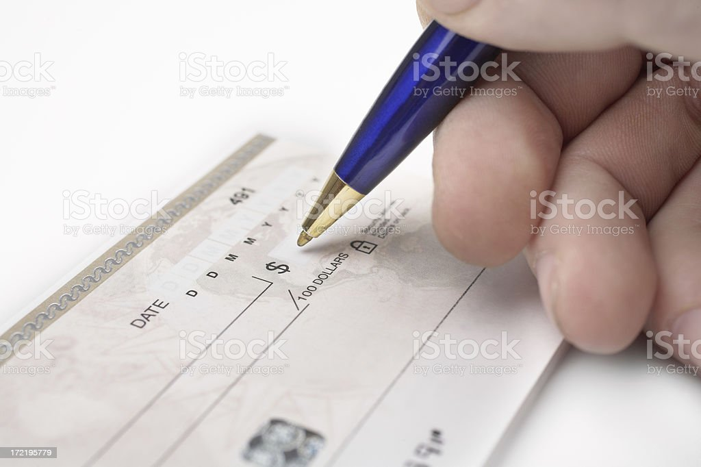 Writing a cheque royalty-free stock photo