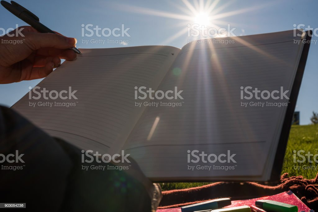 Writing a letter. stock photo
