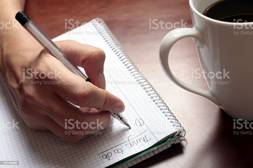 Writing a List stock photo