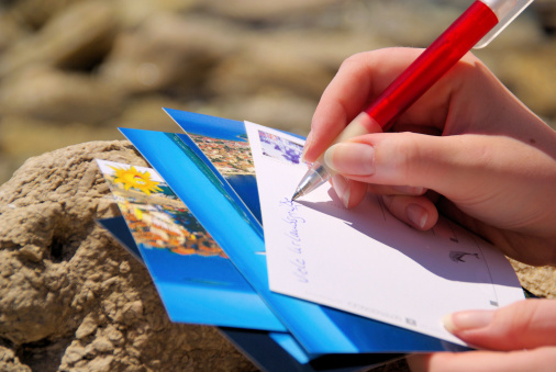 writing a picture postcard