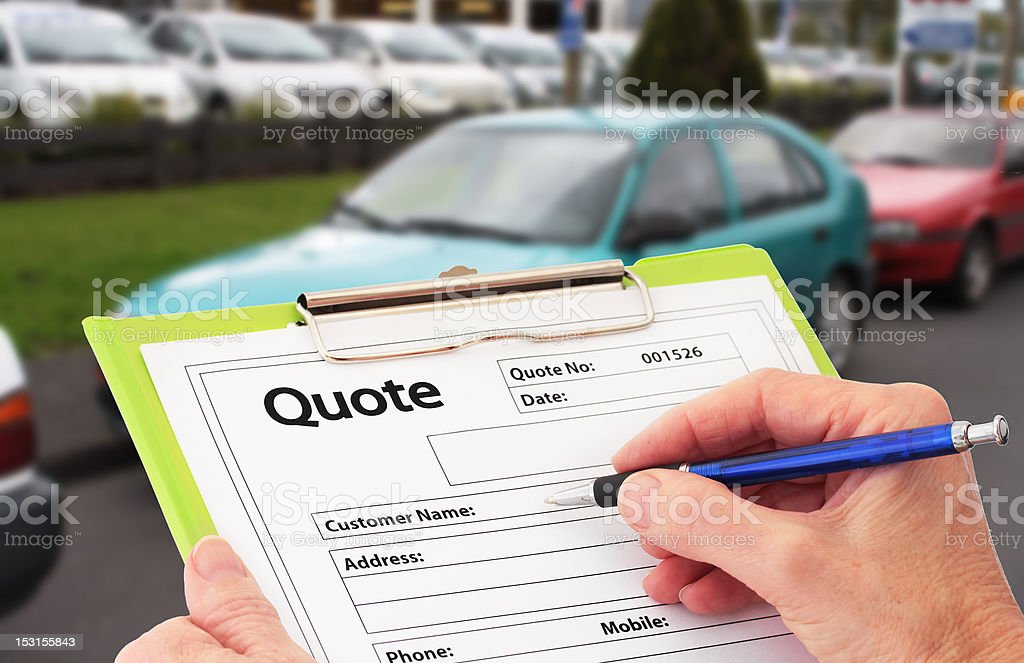 Writing a Quote for Car Repair royalty-free stock photo