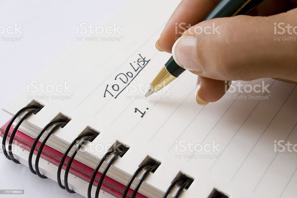Writing a 'To do list' stock photo