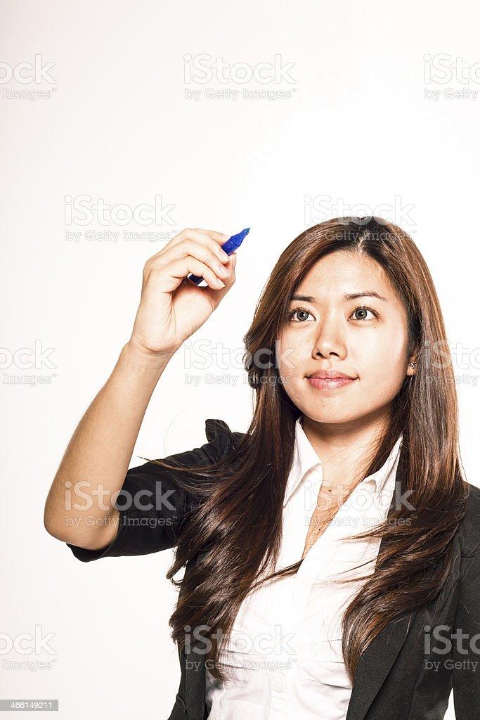 writing asian woman stock photo