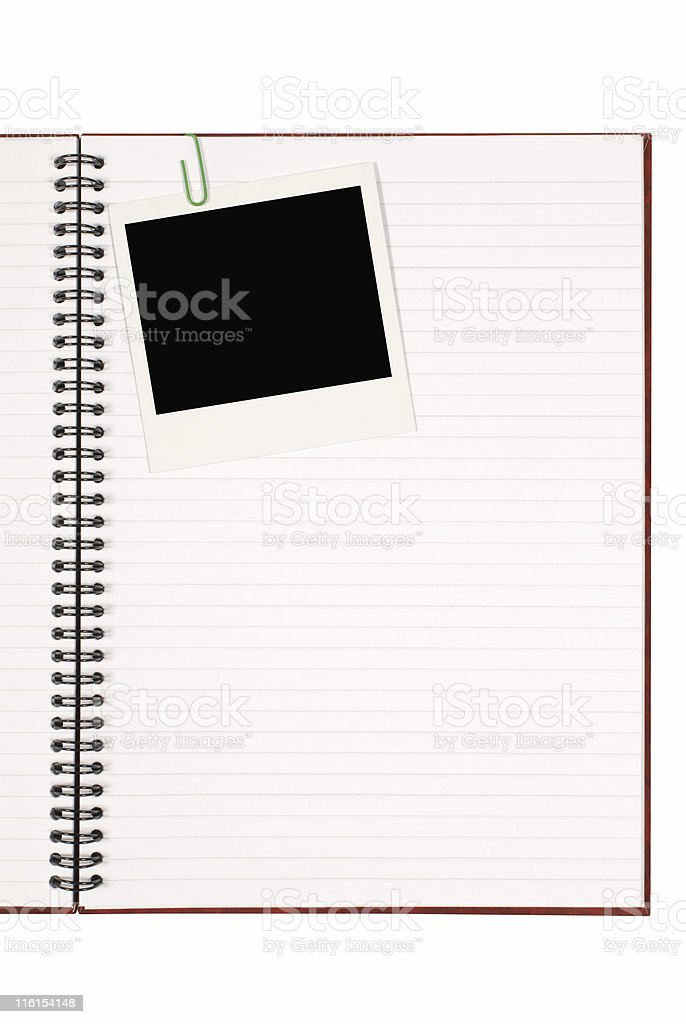 Writing book with blank instant print picture royalty-free stock photo