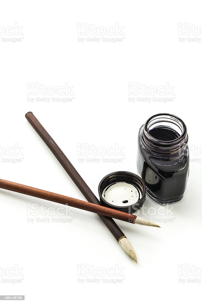 Writing brush and ink royalty-free stock photo