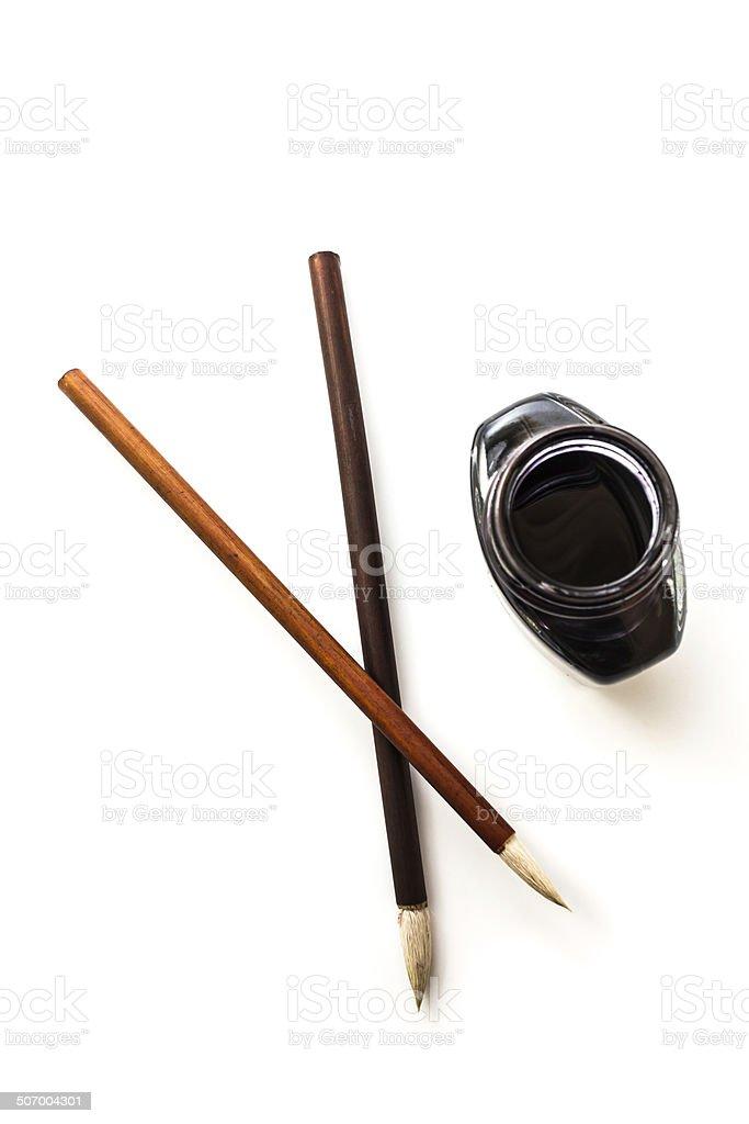 Writing brush and ink stock photo